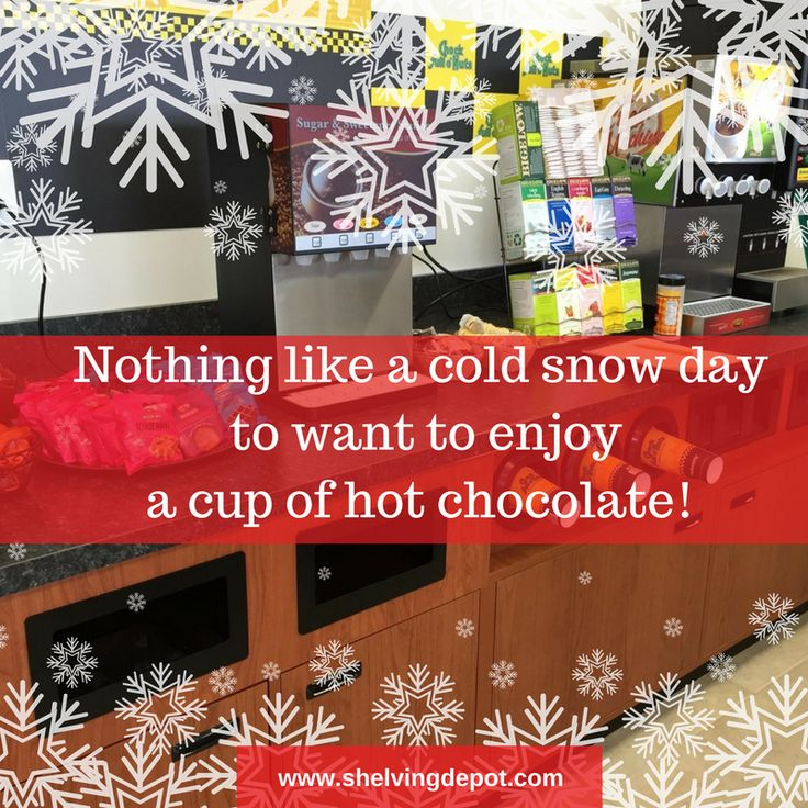 There's nothing like a cold snow day to enjoy a cup of hot chocolate. Our beverage stations will help your customers get what they want! Contact us to get the perfect beverage station for your retail store. www.shelvingdepot.com