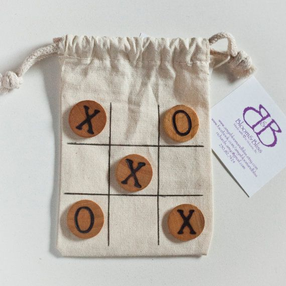 Natural Wood Tic Tac Toe Travel Game Set For by BloomAndBlissCA