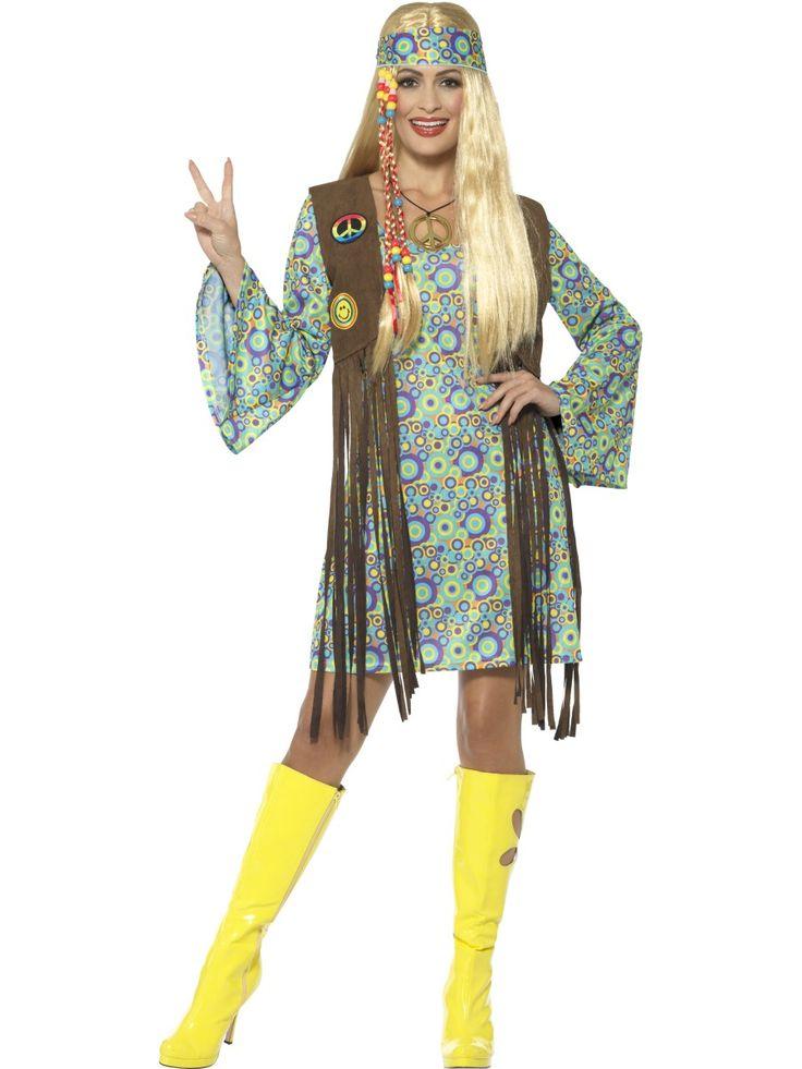 60-luvun naisten hippiasu. Psykedeelisillä kuvioilla varustettu mekko vie ajatukset kauniille 60-luvulle. Paranna maailmaa teemajuhlissa, synttäreillä, festareilla ja kaikissa muissakin värikästä menoa huokuvissa tapahtumissa. Mekon lisäksi asuun kuuluu aikakauteen kuuluva liivi, päänauha ja koru.