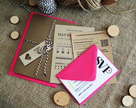 Fuschia/Chocolate Wedding Invitation / Rustic Metallic Kraft Wedding Invitation Suite with twine - 'Fuschia & Chocolate'