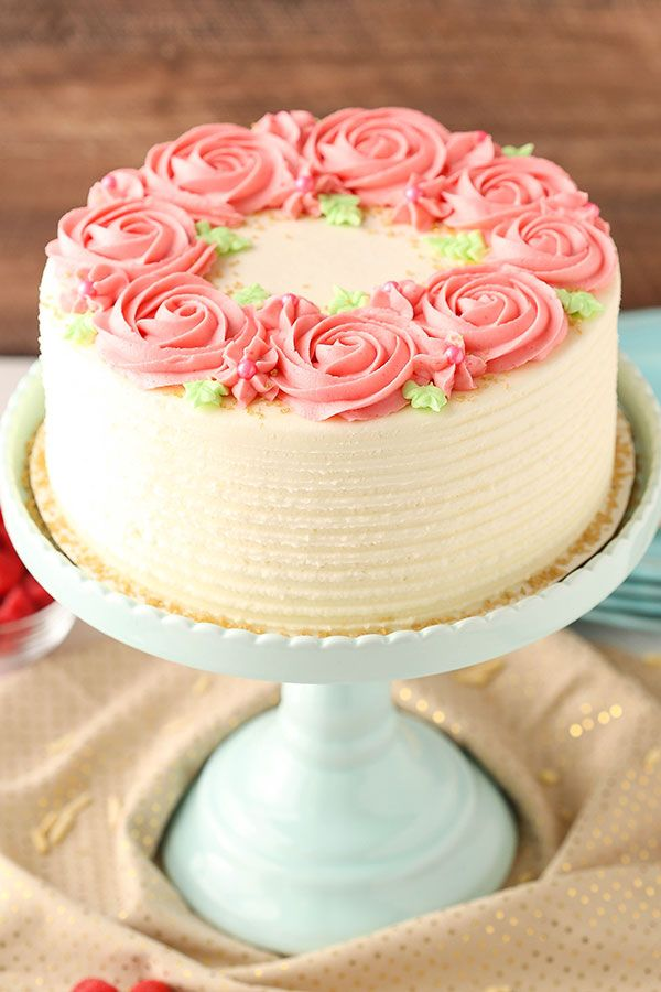 Raspberry Almond Layer Cake! Such a light, moist cake with fresh raspberry frosting! from @lifelovesugar