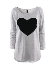 Sweatshirt with Contrast Heart Flocking