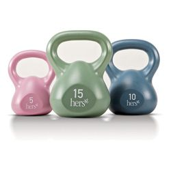 @Overstock - The versatile Marcy 30-pound Kettle weight set from Impex is the perfect addition to any home gym. This weight set includes a 5-pound, 10-pound and 15-pound single kettle weights with impact resistant vinyl outer casting.http://www.overstock.com/Sports-Toys/Impex-Marcy-30-lb-Kettle-Weight-Set/6051668/product.html?CID=214117 $45.82 Look what I found!! GIRLIE KETTLE BELLS! lol