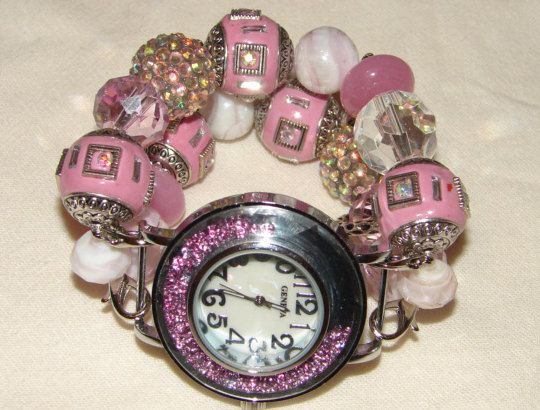 Pink Chunky Beaded Watch Band and Watch Face  by BeadsnTime, $30.00