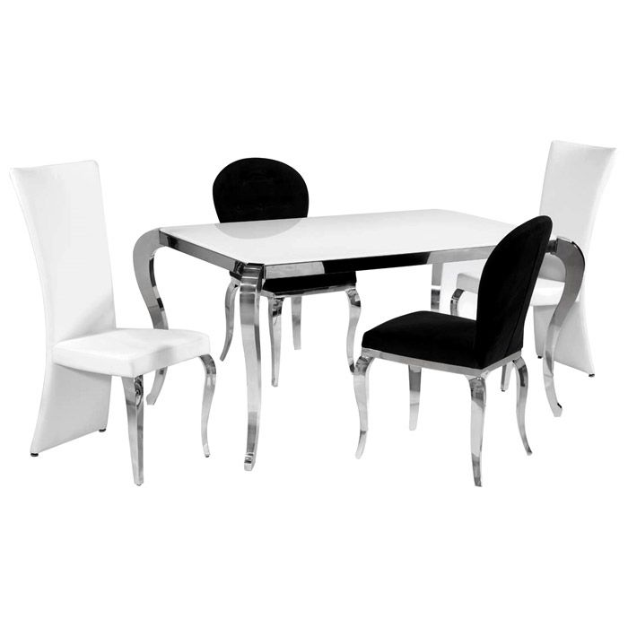 Found it at www.dcgstores.com - ♥ ♥ Teresa 5 Piece Contemporary Dining Set - White Glass Top ♥ ♥-$989.00 FREE SHIPPING & NO SALES TAX* http://www.dcgstores.com/teresa-5-piece-dining-set-glass-ci.html