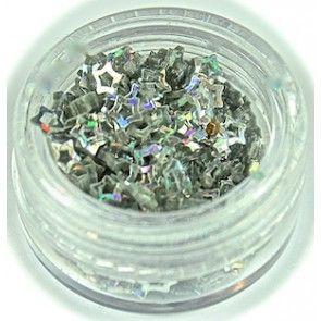 Nailart glitter - stjerner - sølv