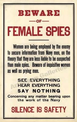 Beware Female Spies Silence Unusual WW1 Poster 15x24 | eBay