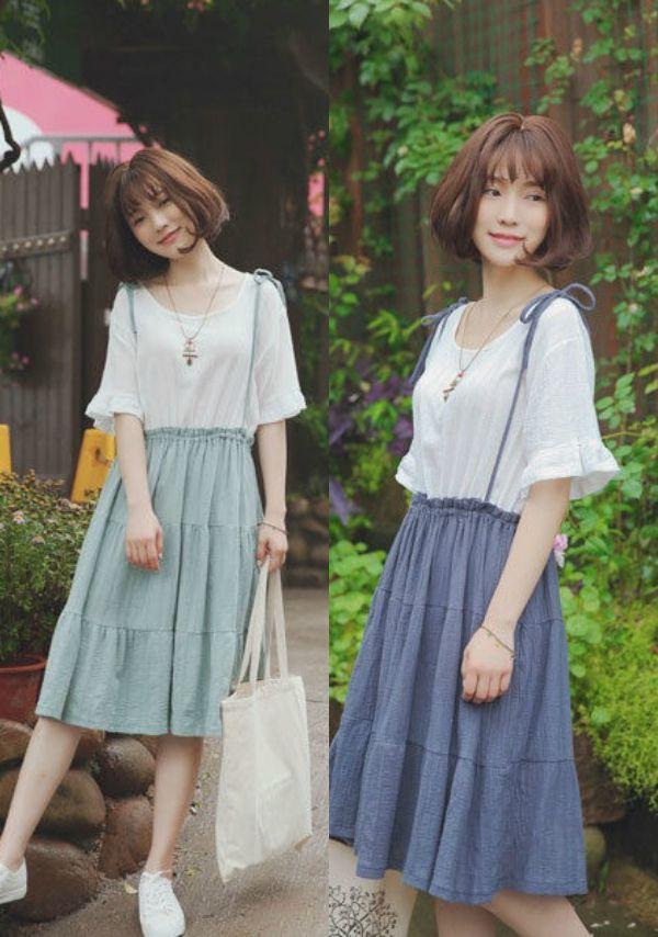 Mori Girls - Mock Two-Piece Jumper Dress