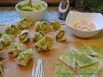 canapés de camarão ao pesto