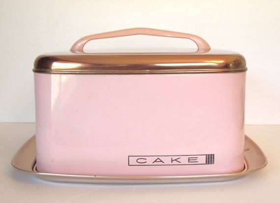 Vintage Pink Cake Saver Carrier Retro Metal Lincoln Beautyware Square Pink with Copper Cake Keeper 1950 Mid Century Kitchen Made in the USA  by cocoskitchen