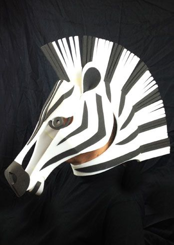 zebra headdress mask custom animal head