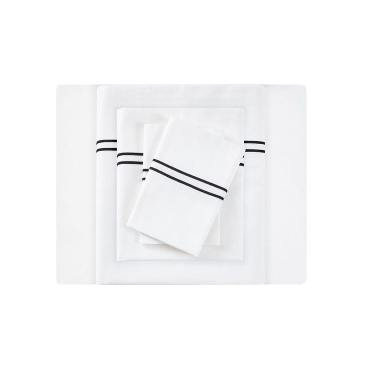 Embroidered Cotton Sateen Sheet Set California King White & Black 400 Thread Count - Sleep Philosophy, White/Black
