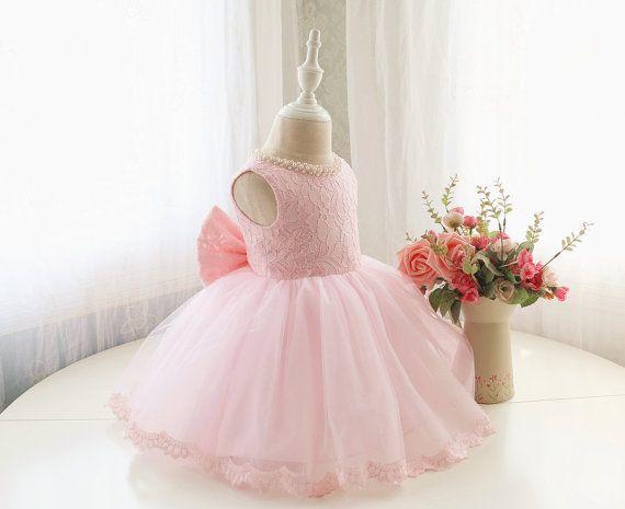 Designed Style Baby Pink Flower Girl Dress, Toddler Sleeveless Pageant Dress, Baby Birthday Dress for Girls, Baby Tutu 1st Birthday, PD098-1