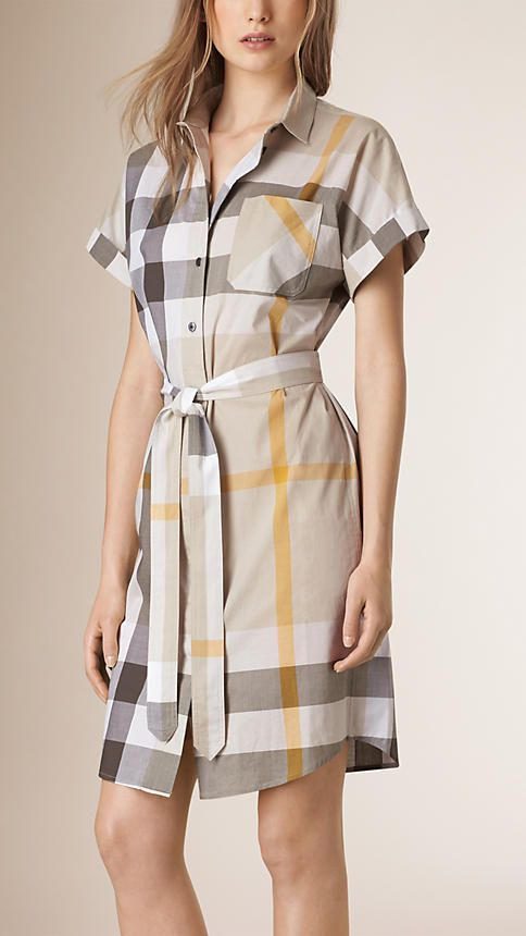 Mink grey Check Cotton Shirt Dress - Image 1