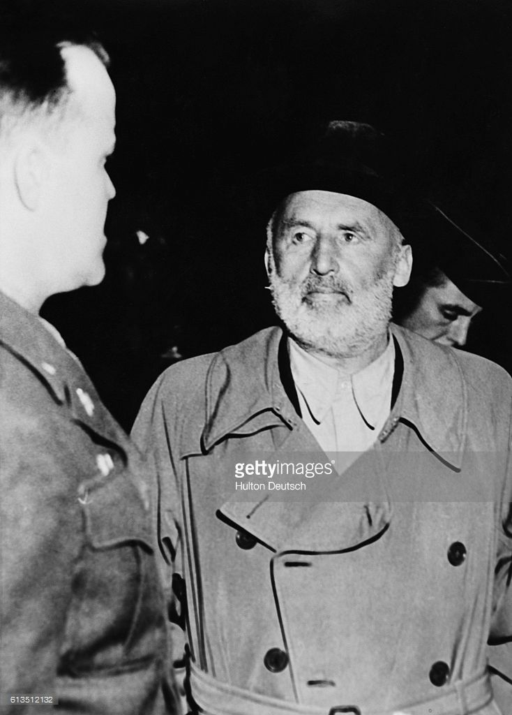 Julius Streicher (1885-1946), the captured controller of Der Stuermer, the anti-semitic German newspaper with the American officer Paul Danny.