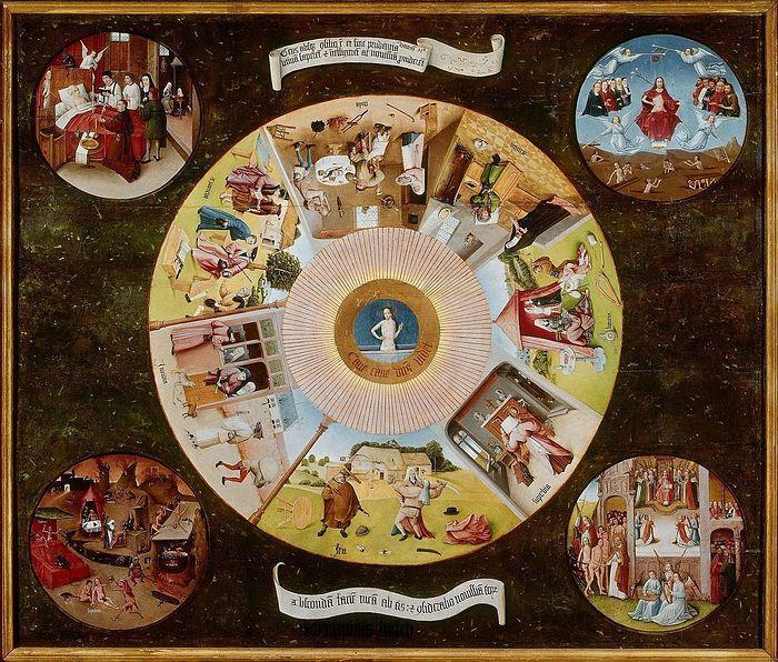 Семь смертных грехов (столешница) (1480-1485). Иероним Босх
