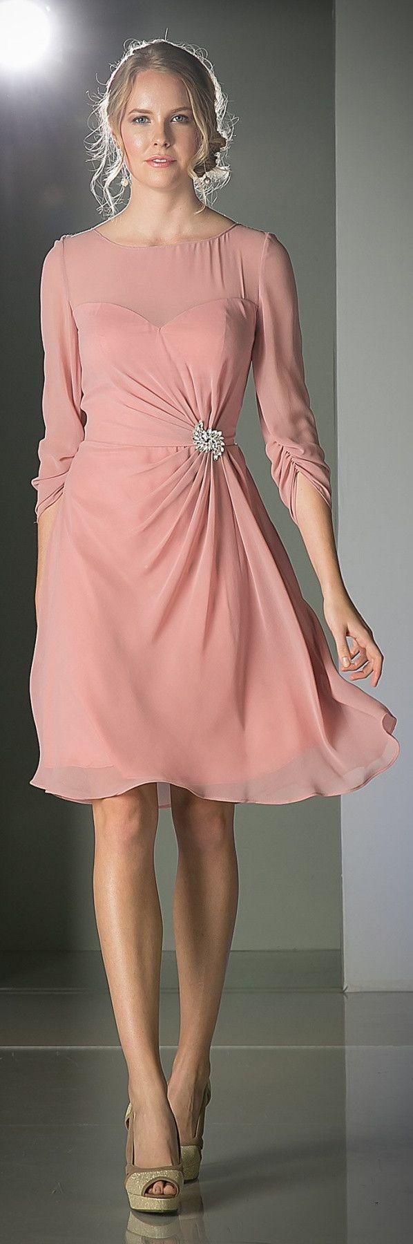 Scoop Neckline 3/4 Sleeves Cocktail Dress Rose Knee Length