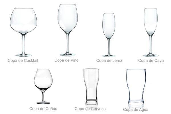 Que copas utilizar para cada bebida:Vino, champan