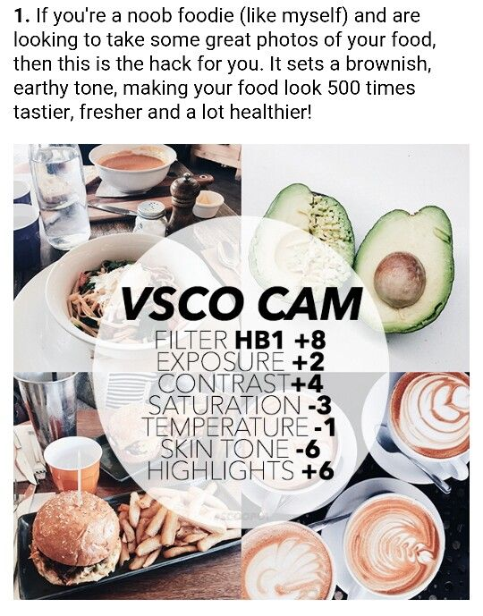 VSCO - Best Filters For Instagram Success! No. 1 Food