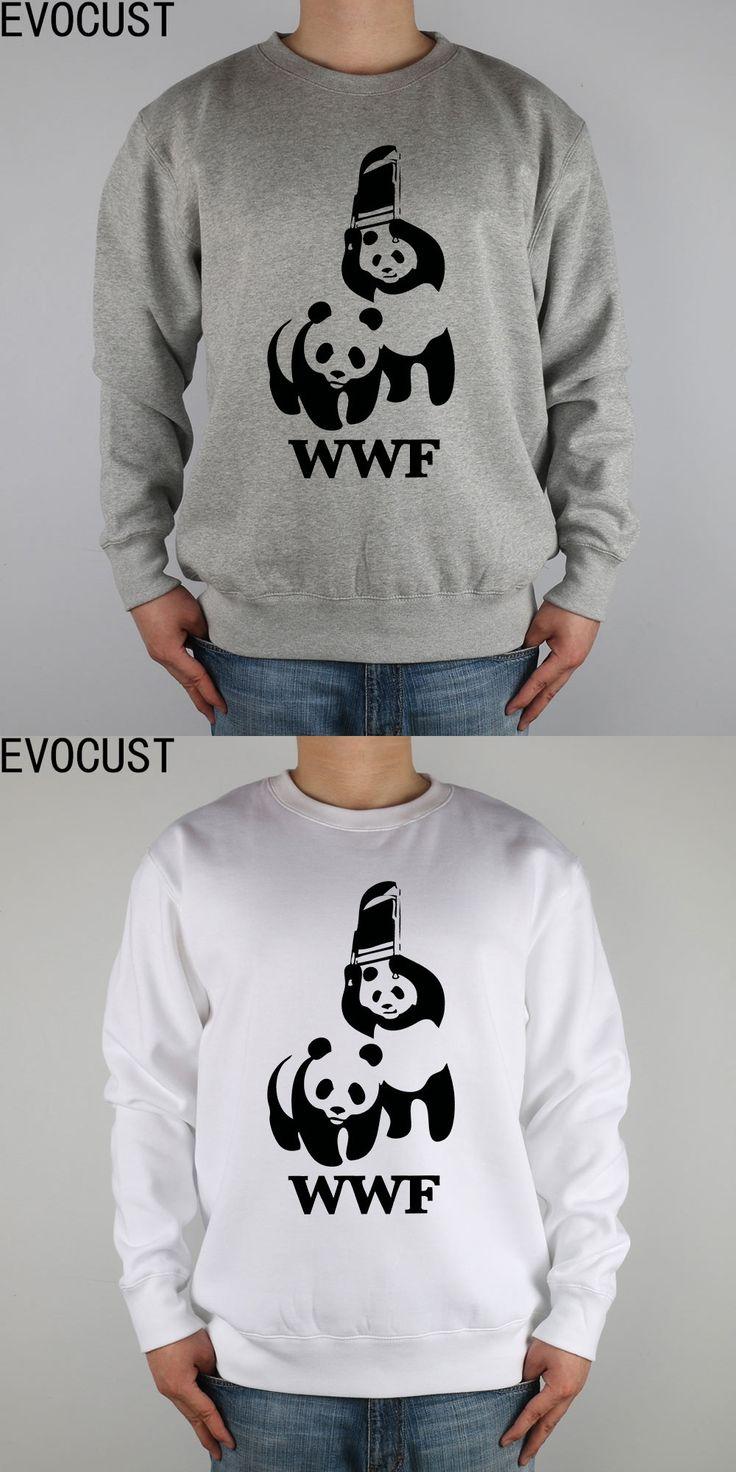 FUNNY WORLD WILDLIFE FOUNDATION WWF men Sweatshirts Thick Combed Cotton