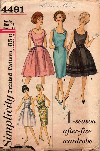 simplicity 4491 teen 60s dresses