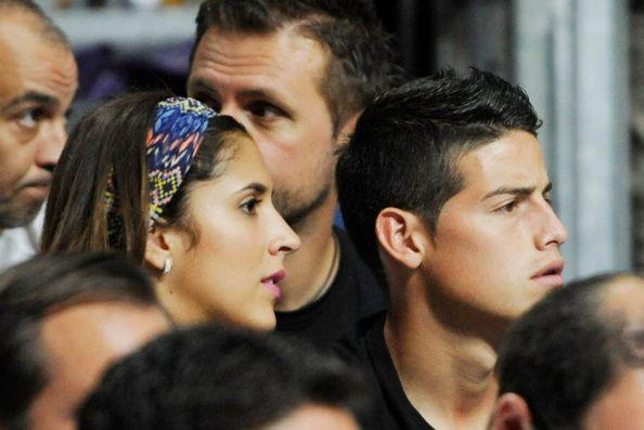 Real Madrid football player James Rodriguez and Daniela Ospina attend Serbia v USA - 2014 FIBA World Basketball Championship at Palacio de los Deportes on September 14, 2014 in Madrid, Spain