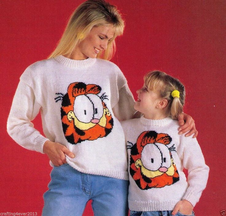 WOMEN'S & CHILD'S VINTAGE GARFIELD FACE JUMPER SIZE MULTI -8PLY KNITTING PATTERN