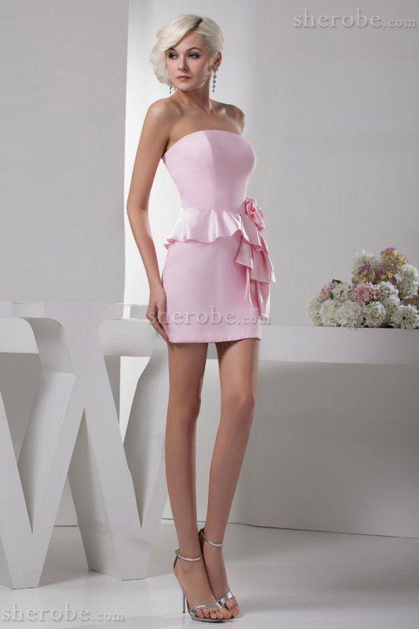 Robe demoiselle d'honneur courte en satin de bustier avec zip de fourreau - Photo 1