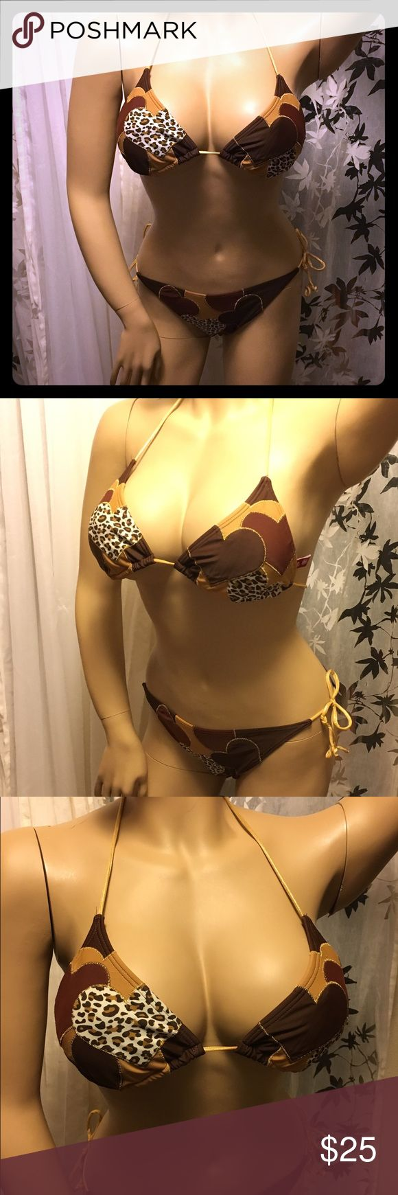 Guess Animal Print String Bikini Brown tan and gold animal print triangle string. Bikini Not padded. Fits b/ c comfortably. Both size small Guess Swim Bikinis