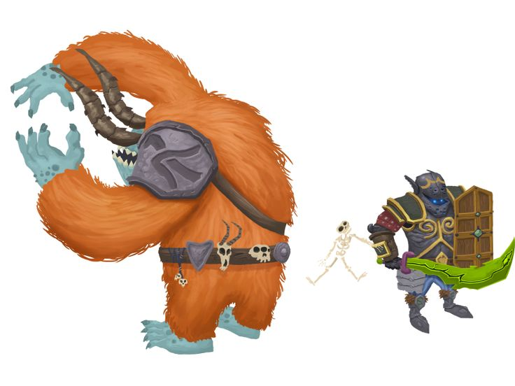 3 game art characters: the monster, skeleton and the knight