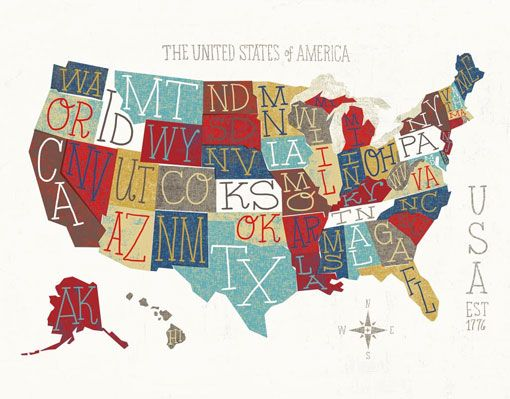 Us Map Ilration By Michael Mullan