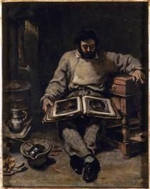 Marc Trapadoux is Examining the Book of Prints - Gustave Courbet