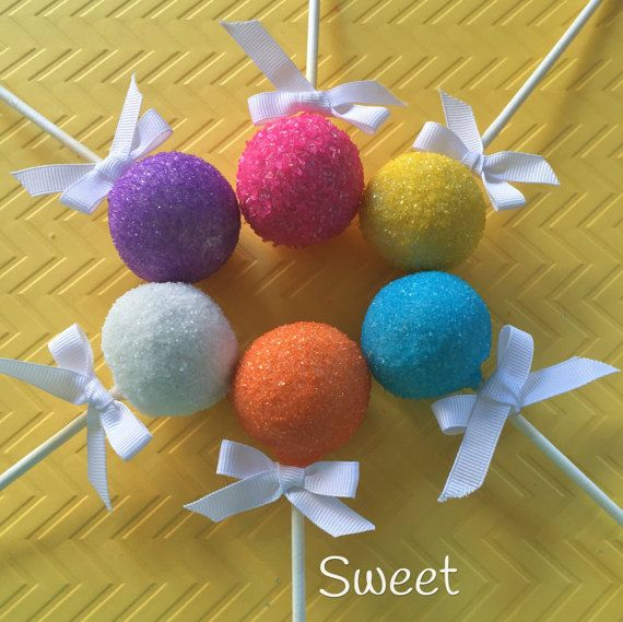 12 Rainbow Sugar Crystal Cake Pops for by Sweetadornmentsny