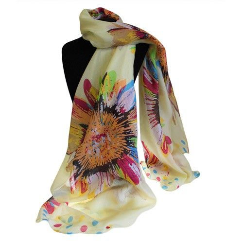 Sunflowers Scarves wholesale - Hip Angels Sunflowers Bit Posh Scarves. This Scarf  is beauty, the material is the high quality made from 100% Polyester, the size is great 100x180cm to cover the shoulders.  #Scarves_Wholesale #Summer_Scarves #Cheap_Scarves #Sunflower_Scarves