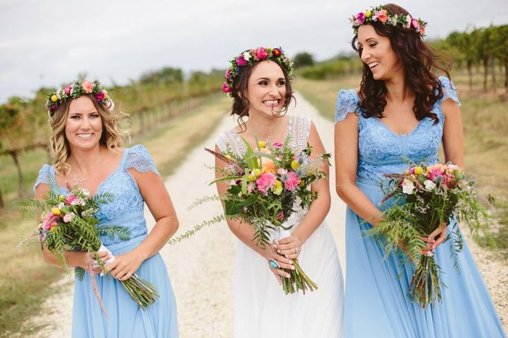 The beautiful bright wildflower bouquets and flower crowns // flowers Simply Stems // Photography Ginger and Mint // venue Mitchelton