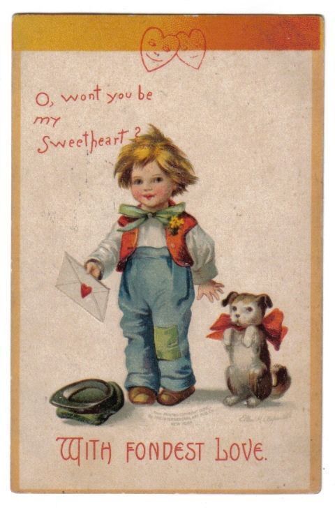 Boy Holding Love Letter~Puppy w/ Red Bowtie~A/S Clapsaddle~Valentine~1909 #ValentinesDay