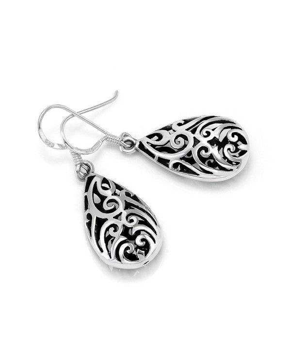 3d2e02d67 Earrings, Drop & Dangle, 925 Sterling Silver Bali Inspired Open Filigree  Puffed Teardrop 1.6 inch Dangle Hook Earrings - C011O1WV351 #Earrings  #fashion ...