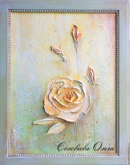 Купить или заказать Картина объемная 'Утренняя роза' в интернет-магазине на Ярмарке Мастеров. Картина в раме выполнена в технике скульптурной живописи декоративной штукатуркой. Основа - ДВП. Картина покрыта матовым лаком. С обратной стороны имеется подвес для фиксации на стену. Может стать прекрасным дополнением интерьера комнаты, кухни, прихожей или оригинальным подарком.
