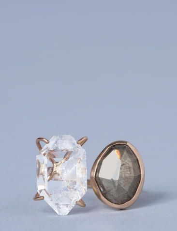 Pyrite and Herkimer Diamond Ring, $938 | 45 Engagement Rings That Don't Suck