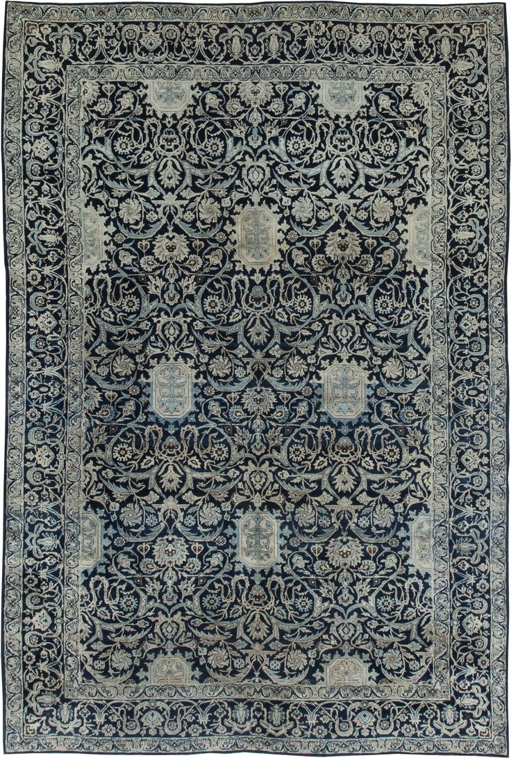 Persian rugs: Persian rug (antique) in blue color, oriental rug, oriental pattern for modern, elegant interior decor #rug #persianrug