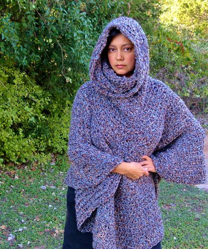 Cowl Hooded Capelette Poncho free crochet pattern - Free Crochet Poncho Pattern - The Lavender Chair