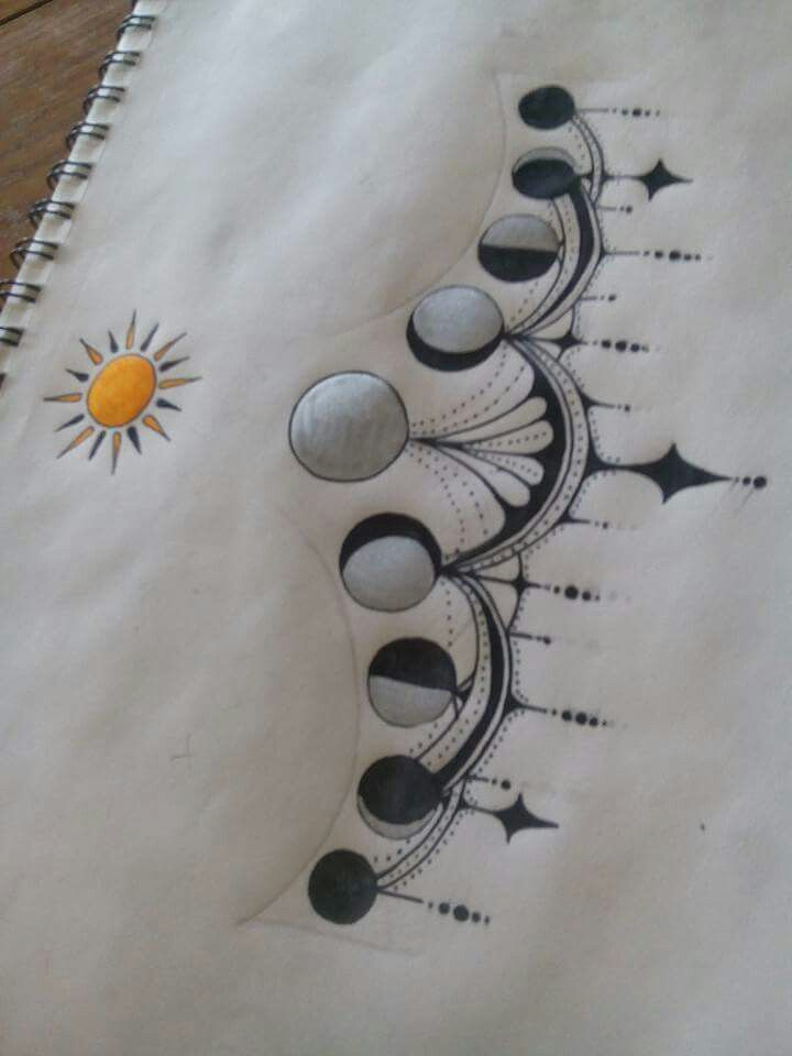 Moon phase tattoo lower chest #ThighTattooIdeas