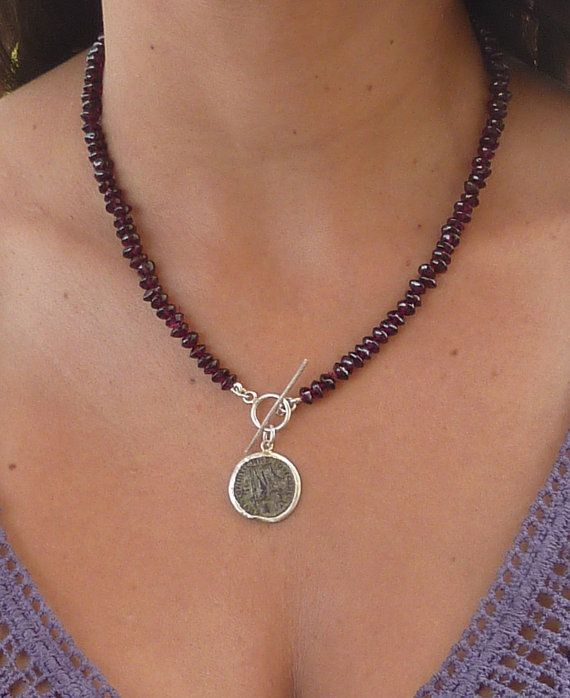 Red Garnet necklace with an antique Roman coin pendant by anakim, $158.00