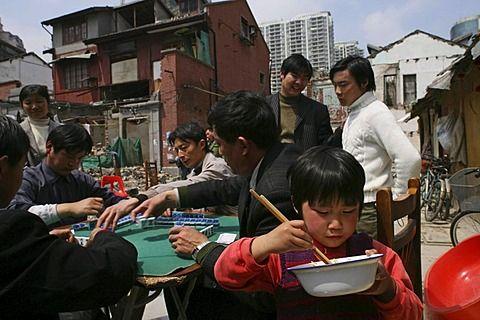 playing mahjong, migrant workers, demolished houses, Lao Xi Men, Shanghai