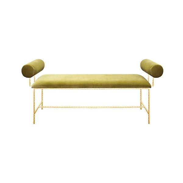 """MILLER GLG - BOLSTER ARM GOLD LEAF BENCH IN LIME GREEN VELVET    - SEAT HEIGHT 17"""""""