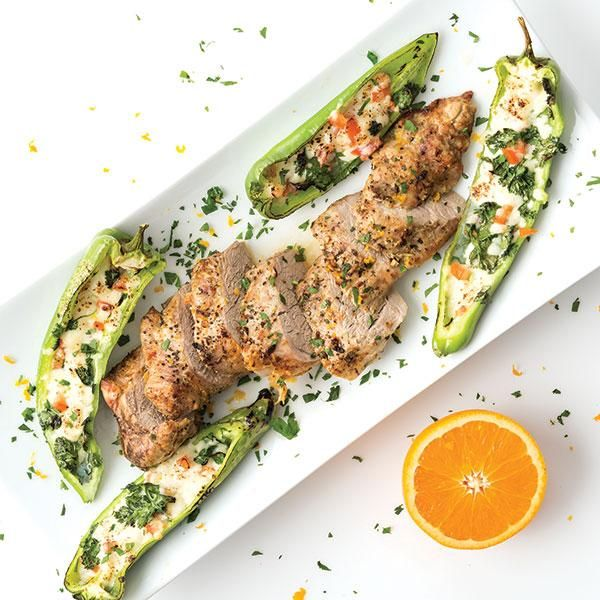 Grilled Pork Tenderloin with Queso Fresco  Stuffed Chiles