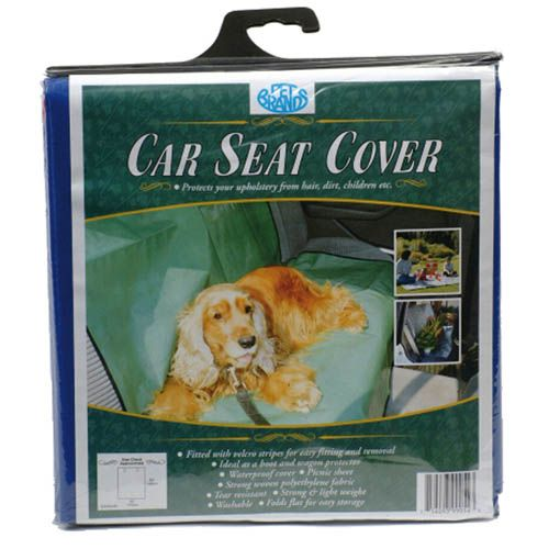 Pet Brands Car Seat Cover for dogs protects your car seats from 'wet dog' after walks, dog hair and muddy paws. The dog car seat cover is fitted with velcro strips for easy fitting and removal. The dog car seat cover is made from strong, woven plyethylene fabric, strong yet lightweight and folds flat for easy storage. The dog car seat cover is washable and tear resistant. This dog car seat cover is ideal for use in the boot and as a waterproof cover. The Pet Brands car seat cover for dogs…