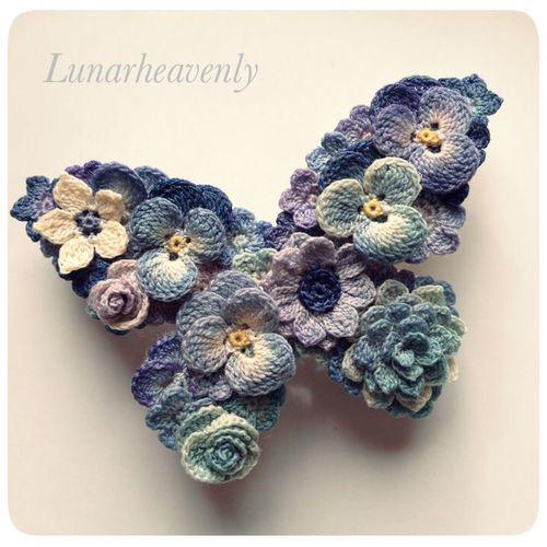 蝶々のバレッタ レース編み