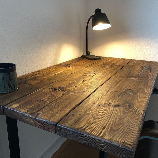 Reclaimed Wooden Desk Solid Metal Legs Reclaimed Furniture Desk Industrial Desk Wooden Office Desk Old Wood Desk In 2020 Reclaimed Wooden Desk Desk Furniture Wooden Office Desk