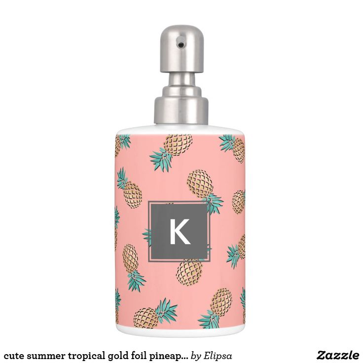 cute summer tropical gold foil pineapple pattern soap dispenser and toothbrush holder